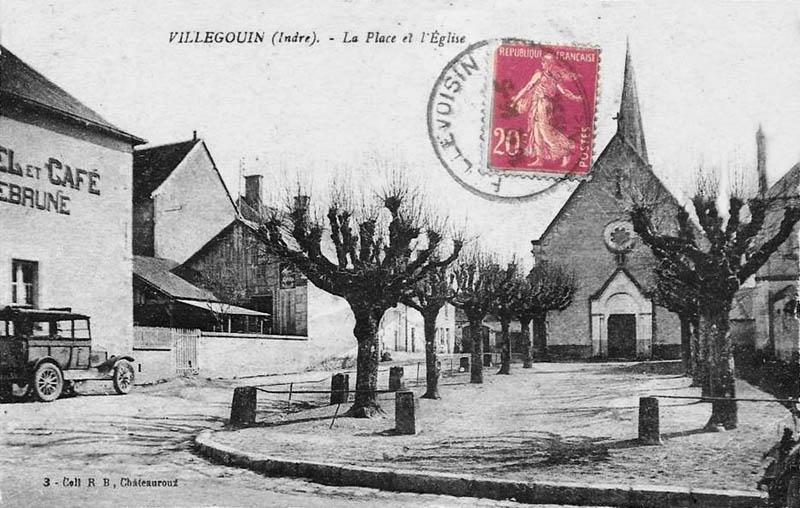CPA_Villegouin-PlaceEglise