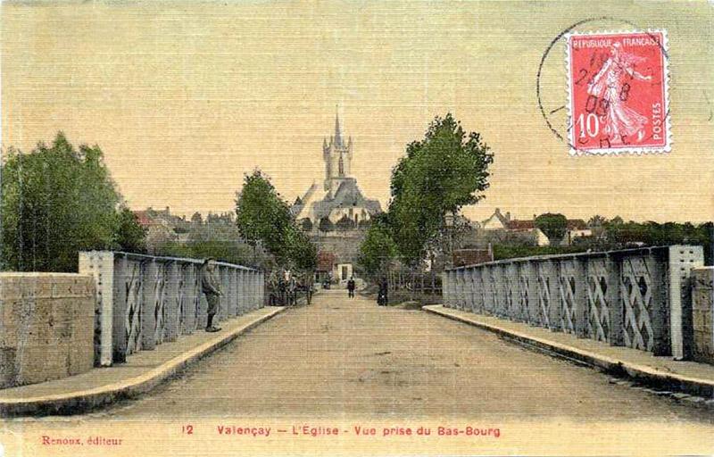 CPA_Valençay_EglisePriseBasBourg